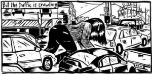 A panel from Mandy Ord's graphic novel <i>Sensitive Creatures</i>.