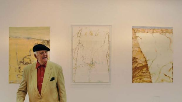 Mutual admiration … John Olsen at the opening of his Lake Eyre exhibition.