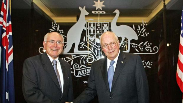Allies ... John Howard meets the then US vice-president, Dick Cheney, at his Sydney office on February 24, 2007.