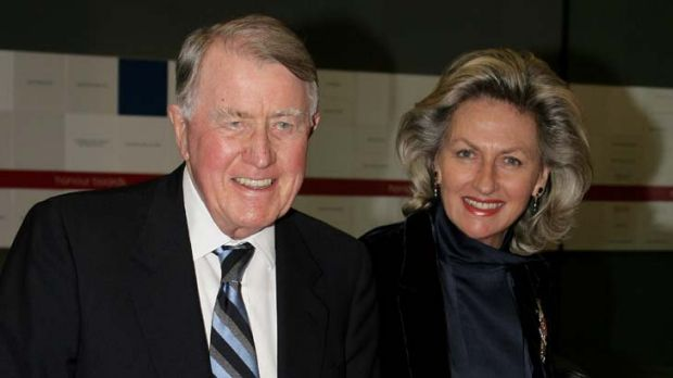 Neville Wran with his wife Jill in 2008.