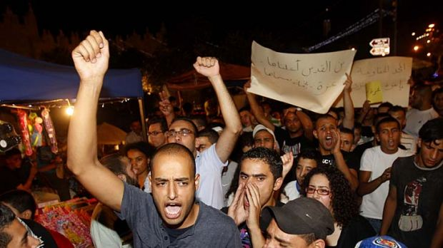 Palestinians protest at the Damascus Gate in Jerusalem.