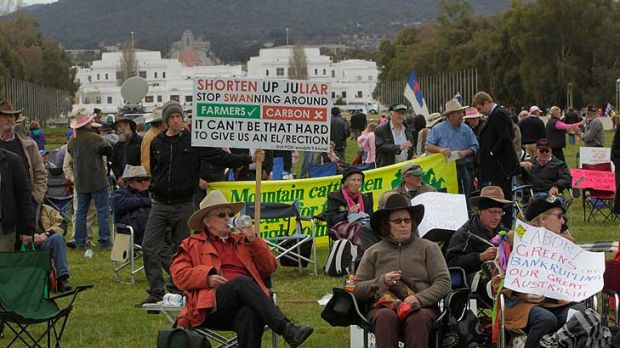 Getting the message ... the rally at Canberra.