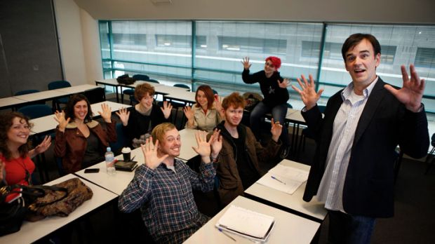 Funny business: Tim Ferguson with his screenwriting class at RMIT University.