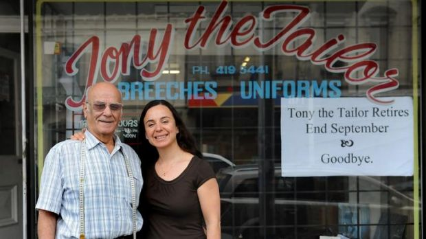 A stitch in time: Tony Apidopoulos with daughter Angela Pantazakos.