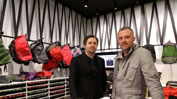 Architect Ryan Russell (left) and Crumpler branding director Sam Davy at the new store.