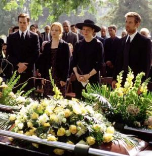 Grave issues ... a scene from Ball's ground-breaking HBO drama <i>Six Feet Under</i>.