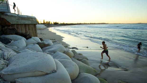 Washed out to sea … beach erosion at Kingscliff, where 40 metres of sand has vanished in less than two months. Due ...