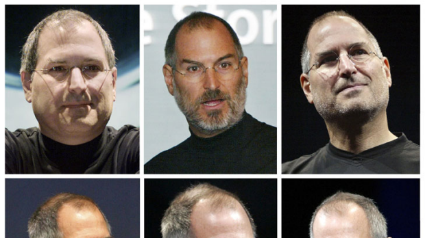 A montage of file photos of Steve Jobs dating (top row L to R) 2000, 2003, 2005, (bottom row L to R) 2006, 2008 and 2009 ...