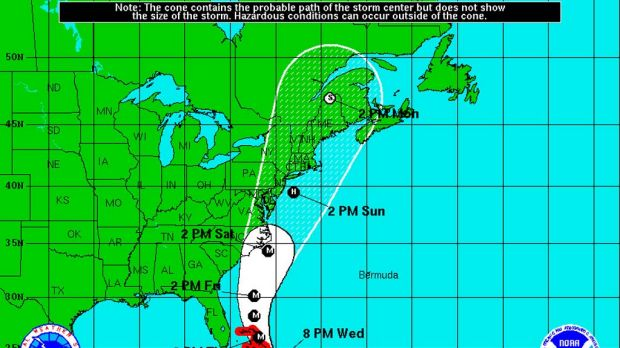 Forecast track cone of hurricane Irene.