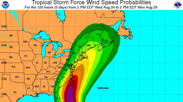 Wind speed probabilities for hurricane Irene.