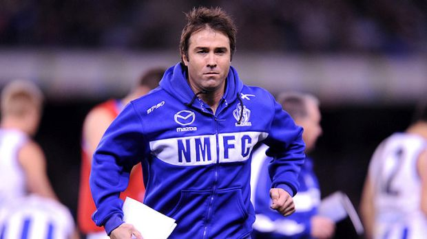 Frustrated: North Melbourne coach Brad Scott during the Roos' narrow loss to St Kilda in round 15.