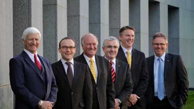 L-R: Bob Katter, Adam Bandt, Tony Windsor, Andrew Wilkie, Rob Oakeshott and Tony Crook.
