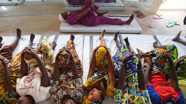 Symbols of hope … fistula patients doing physiotherapy exercises in Jahun.