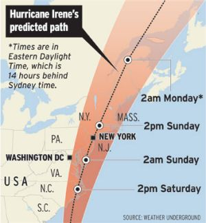 The expected path of Hurricane Irene.