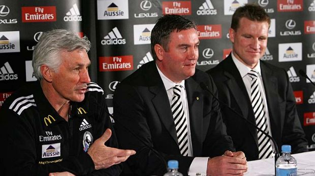 That was then... Mick Malthouse, Eddie McGuire  and Nathan Buckley announce a five-year coaching plan for Collingwood at ...