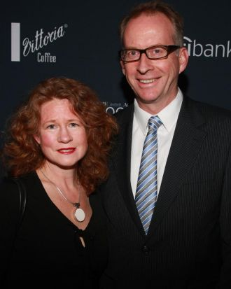 Julie Burns with The Age's Editor-In-Chief, Paul Ramadge.
