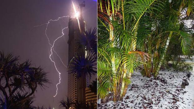 A reader's photo of lightning striking Q1 on the Gold Coast during last night's storm, left, and right: hail at a Camira ...