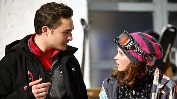 Ice to see you … Ed Westwick and Felicity Jones on the slopes.