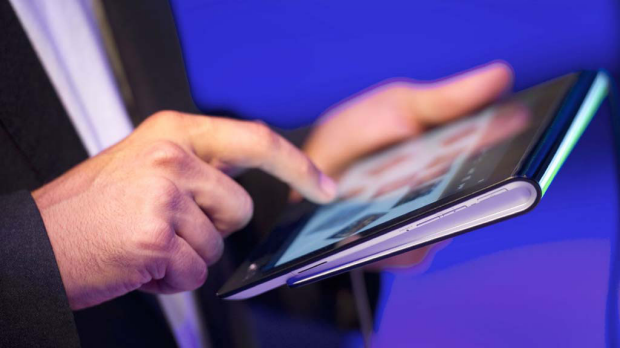 The Sony Tablet S has a wedge shape making it easier to hold and type.