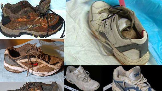 Washed up ... some of the shoes that have been found on the west coast.