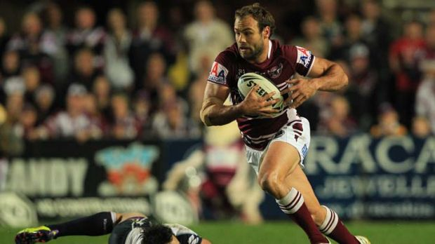 Calm before the storm … Brett Stewart, leaving his opposite number Billy Slater in his wake, was the first player ...