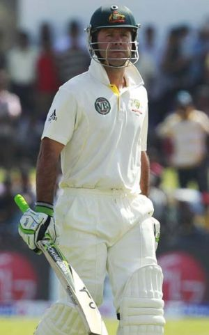 Ricky Ponting walks off the field after his second innings dismissal.