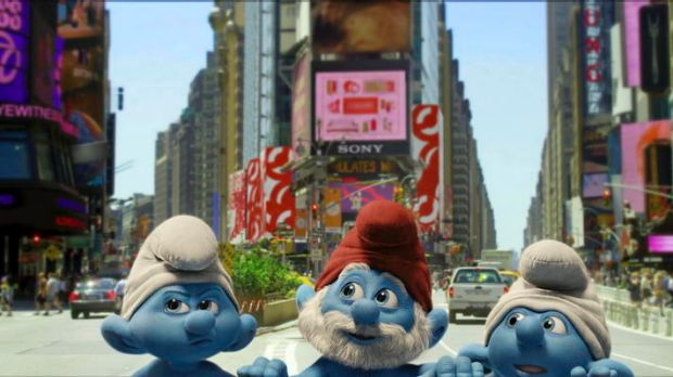 Painting the town blue in <i>The Smurfs</i>.