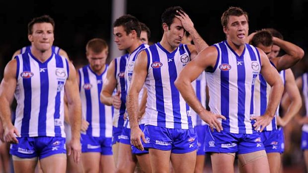 "NORTH MELBOURNE: ""Footy's a game of  inches and the Roos lost four matches by 10 points or less."""