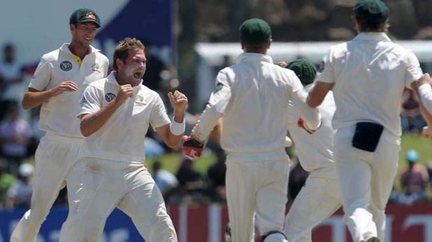 Fab five ... Ryan Harris starred for Australia with a five-wicket haul in Galle yesterday.