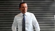 Federal Opposition leader Tony Abbott at Media House , Melbourne offices of Fairfax Media Wednesday 31 August ...