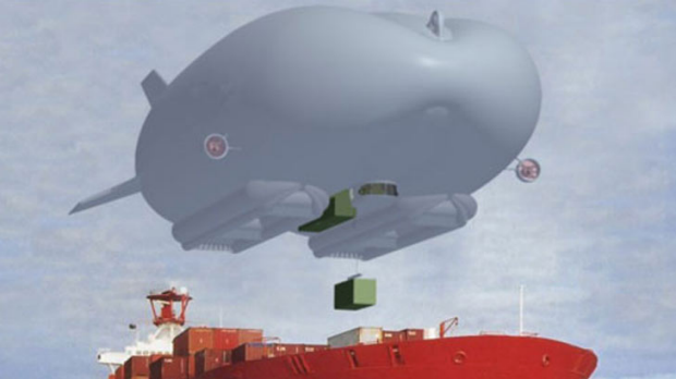 Doing the heavy lifting ... the airships could carry heavy objects to hard-to-reach destinations, as pictured in the ...