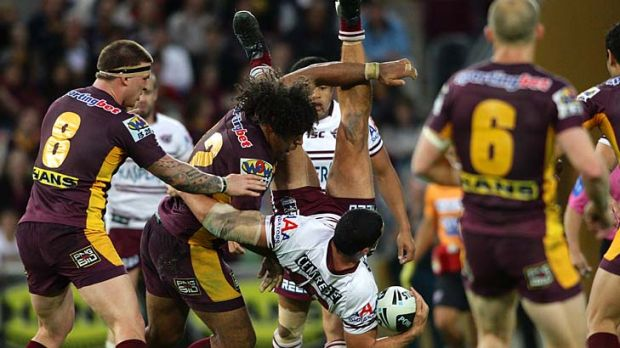 Not worth the risk ... The Broncos have entered an early guilty plea for this tackle by Sam Thaiday.