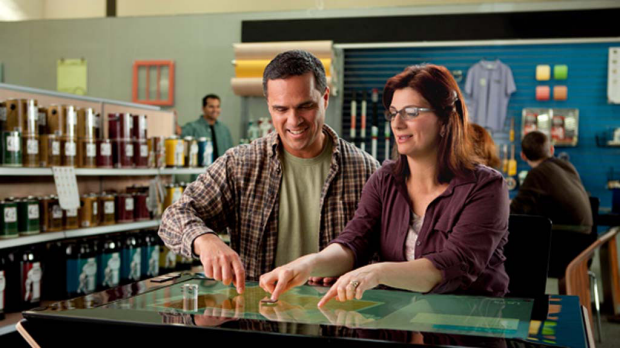 Microsoft is pitching the Surface to businesses to install in their shops for better customer interaction.