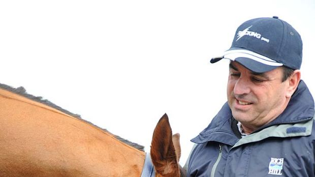 Top pair: Trainer Mark Kavanagh with his class performer Whobegotyou yesterday.