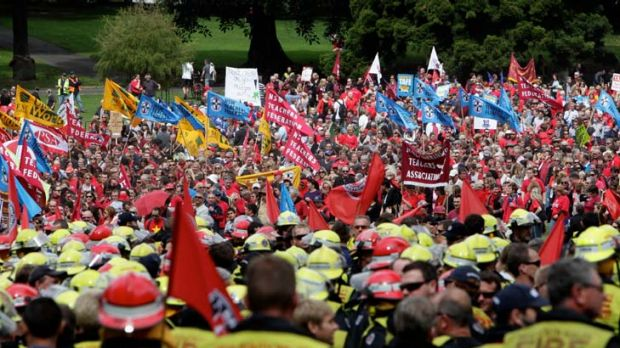 Public servants, public anger ... about 35,000 gathered in The Domain to protest against the state government's ...