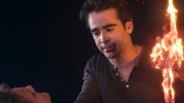 Funny scary ... Colin Farrell goes from horrible boss to neighbour from hell in a movie that gleefully sends up the ...