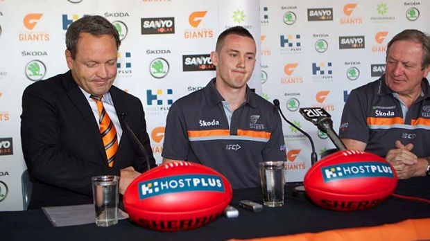 Driven: Tom Scully (centre) at the announcement of his signing with GWS.