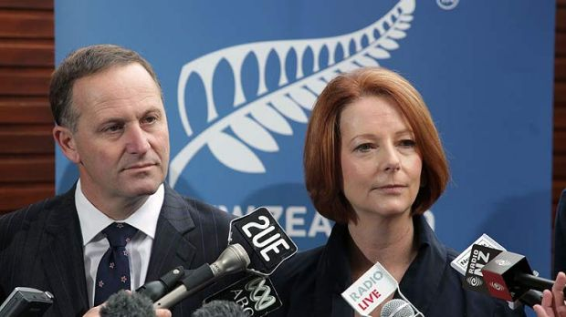 Bus gaffe ... Julia Gillard with New Zealand Prime Minister John Key at the opening of the annual Pacific Islands Forum ...