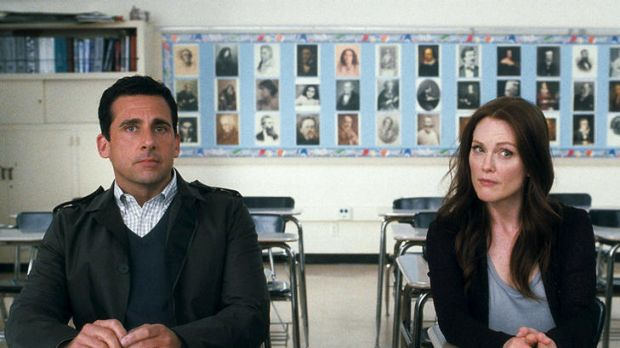 Separation anxiety: Steve Carell and Julianne Moore share table space in Crazy, Stupid, Love.