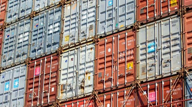 Up and up: Shipping containers at Asciano's Patrick operations at Port Botany in Sydney.