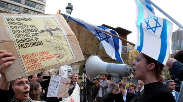 Close encounter: supporters and opponents of the anti-Israel boycott in Melbourne earlier this month.