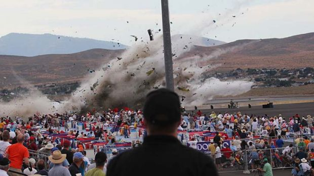 The P-51 Mustang crashes into the edge of the grandstands at the Reno Air show.