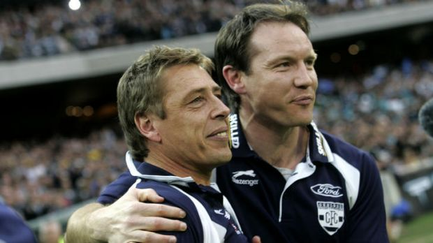 New Adelaide coach Brenton Sanderson (right) with then-Geelong coach Mark Thompson at the 2007 AFL grand final.