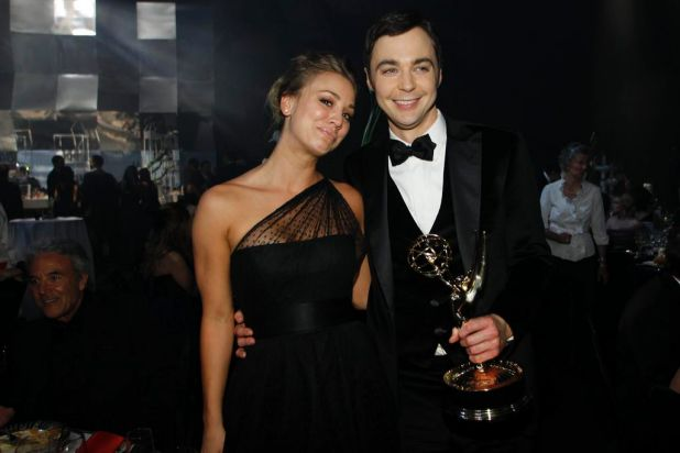 "Actress Kaley Cuoco and actor Jim Parsons from ""The Big Bang Theory"" pose at the Governors Ball. Parsons won for ..."