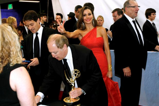 "Sofia Vergara is seen backstage with other cast and crew from ""Modern Family"" after winning the award for outstanding ..."