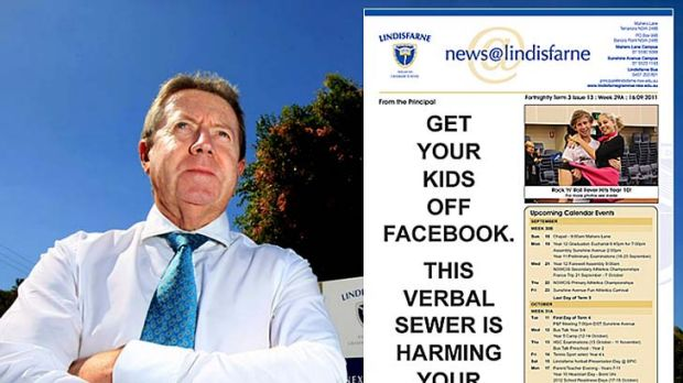Lindisfarne principal Chris Duncan and the school newsletter bearing his stark warning about Facebook. <a ...