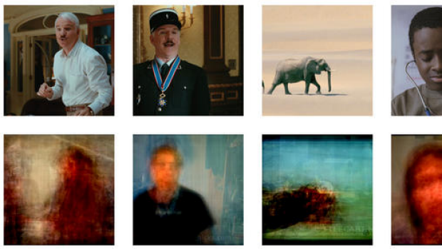 This set of paired images shows original video images, upper row, and those images reconstructed by computer from brain ...
