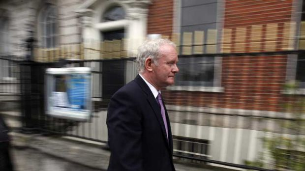 Martin McGuinness arrives for a news conference in Dublin to announce he is running for president. Below: Mr McGuinness ...