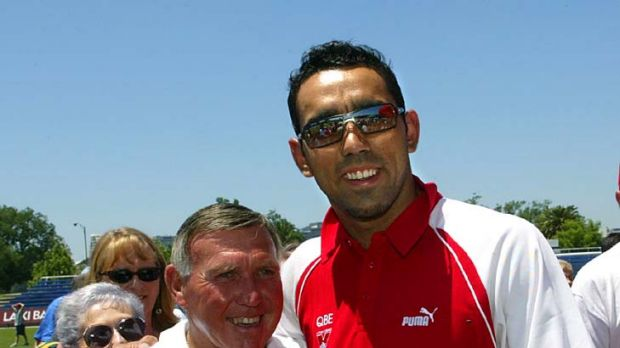 Sydney's Adam Goodes, seen here with triple Brownlow medallist Bob Skilton, is one of the favourites to win the Brownlow.