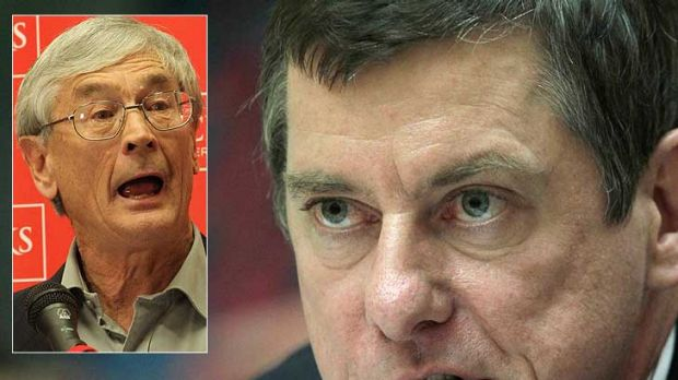 Dick Smith, inset, accuses Coles chief Ian McLeod of destroying farmers' livelihoods.